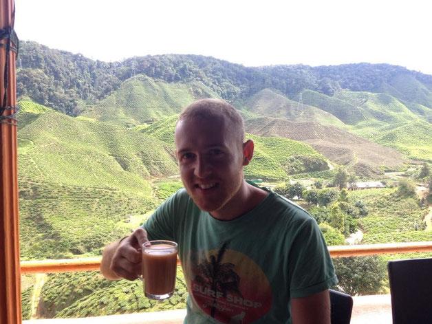 David enjoying some strawberry tea..