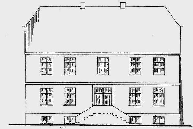 So wie auf dieser Zeichnung des Zimmermeisters Witt sah der zweigeschossige Posthof aus.