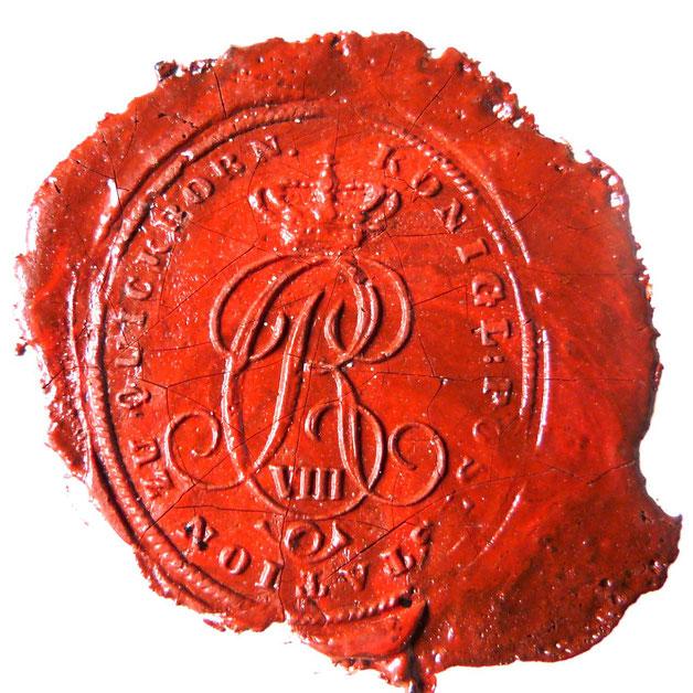 """Der Brief trägt das Siegel der"""" königlichen Poststation zu Quickborn"""" und ist mit den Initialen des damaligen Königs Christian VIII. von Dänemark (1786 - 1848) verziert."""