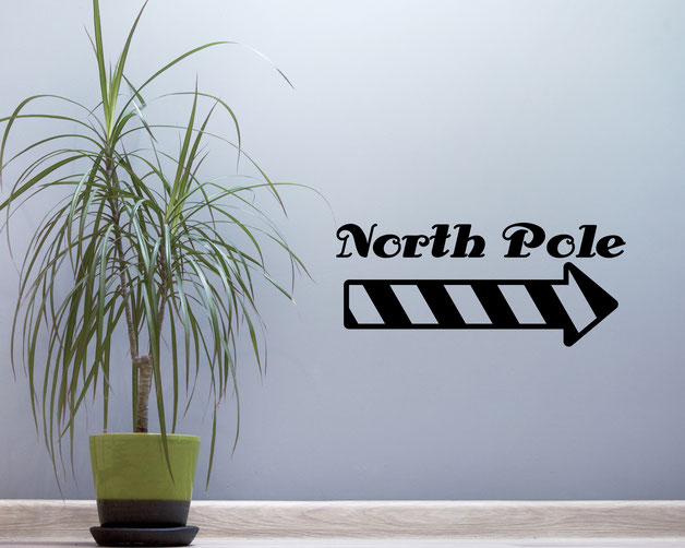 North Pole with stripey arrow vinyl Wall art decal from www.wallartcompany.co.uk