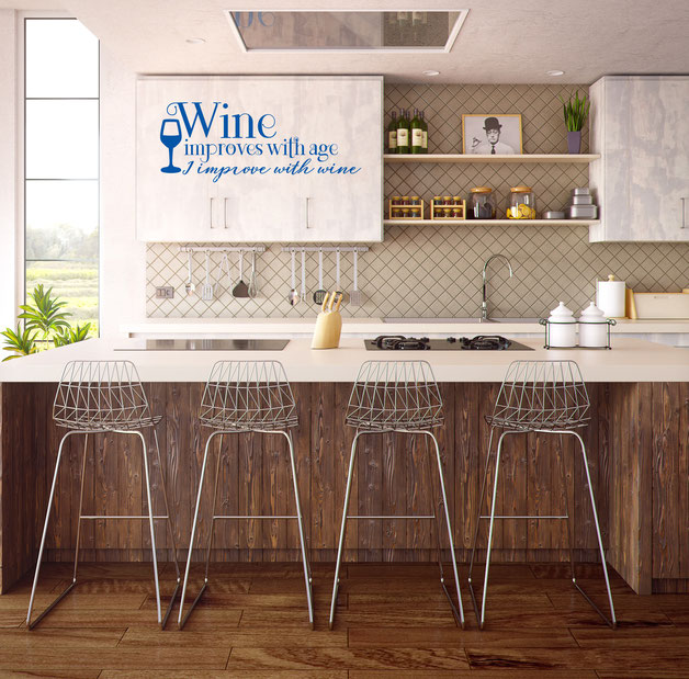 Wine improves with age, I improve with wine vinyl sticker for decoration. From www.wallartcompany.co.uk