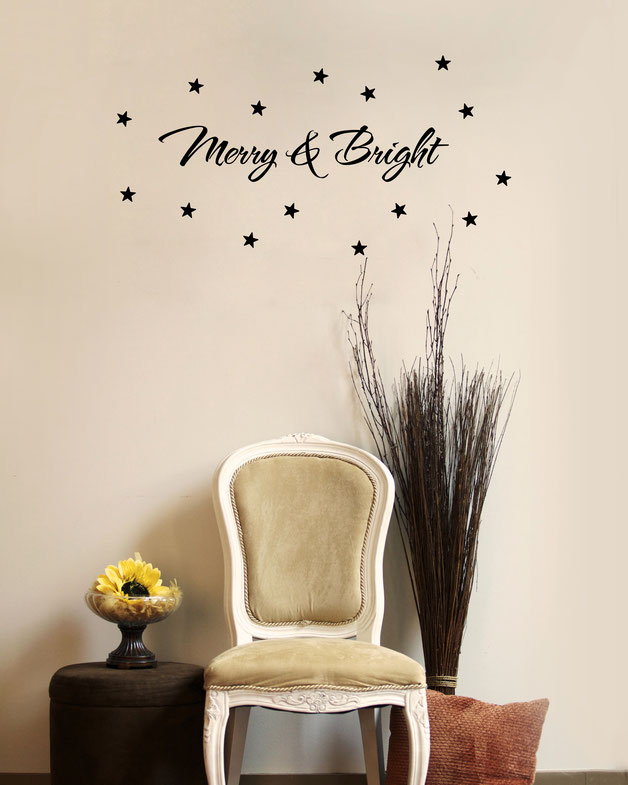 Merry & Bright vinyl Wall art decal from www.wallartcompany.co.uk
