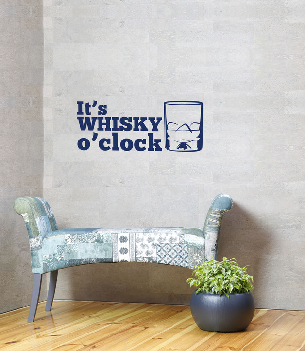 It's Whisky O'Clock vinyl sticker for decoration. From www.wallartcompany.co.uk
