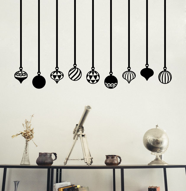 Festive Holiday Baubles vinyl Wall art decals from www.wallartcompany.co.uk
