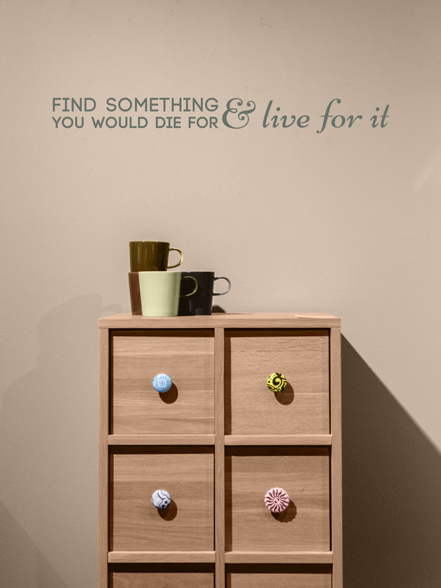 Find something you would die for and live for it Quote from www.wallartcompany.co.uk