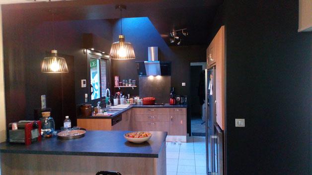 Cuisiniste Cuisine Home Concept - Travaux de rénovation - cuisine équipée - ouverture sur le séjour- Saint Martin de Boscherville - Le Genetey
