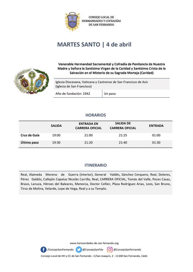 Programa y Procesiones de la Semana Santa de San Fernando