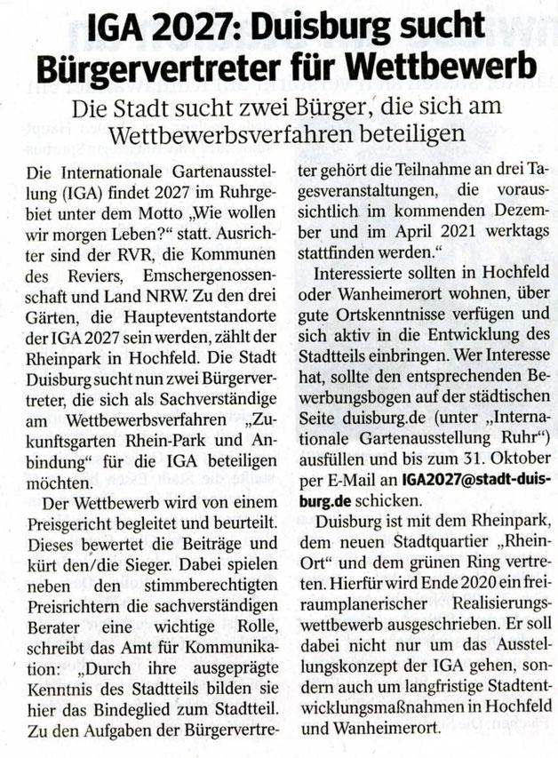 Pressebericht WAZ Oktober 2020