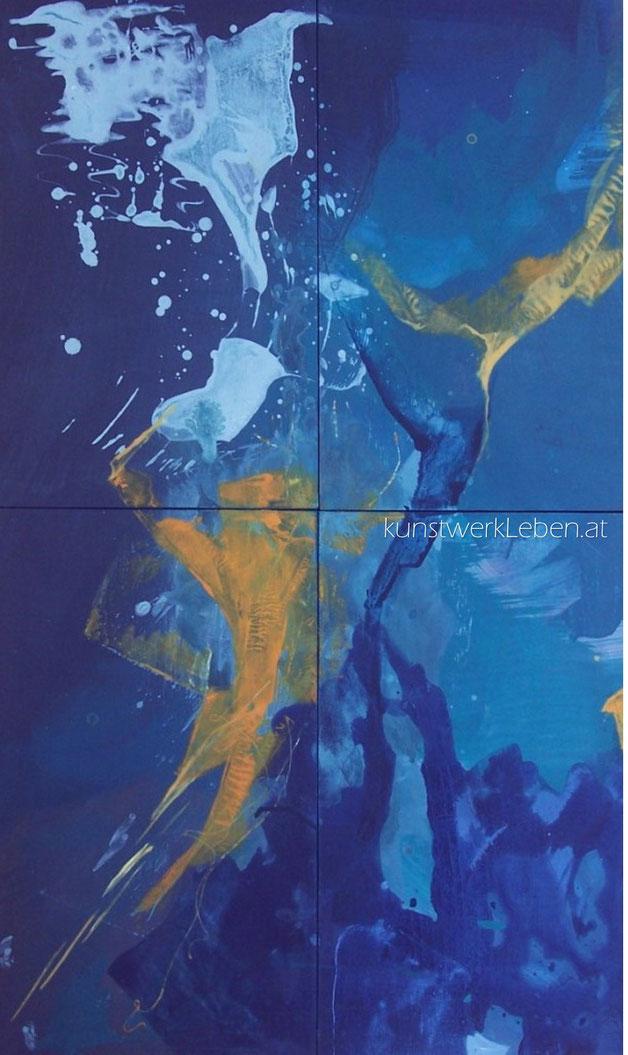 EINLADUNG, Acryl auf Holzkassetten, 60cm breit x 105cm hoch
