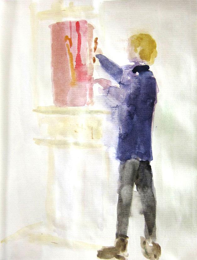 Kinder, Jugendliche und Erwachsene malen und zeichnen zusammen im Atelier Malkasten Warendorf.