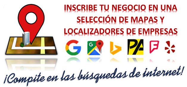 Inscripción de negocios en Internet, localizadores de empresas y mapas