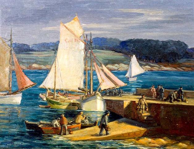 Une marine dans le style de Renoir. Tell aima le nord de la France