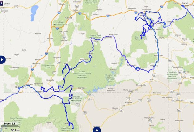 gefahrene Route im östlichen und südlichen Utah mit einem Abstecher nach Arizona