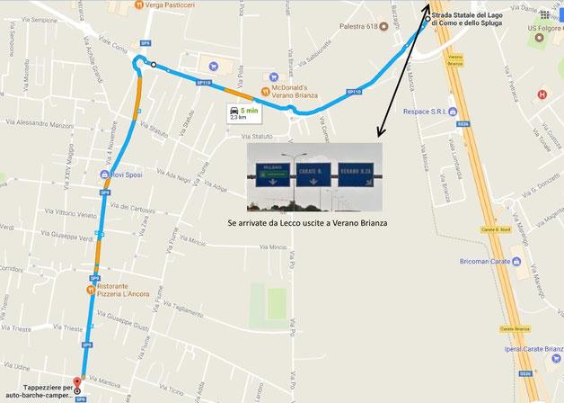 indicazioni stradali per raggiungere la ditta ballabioiltappezziere.com