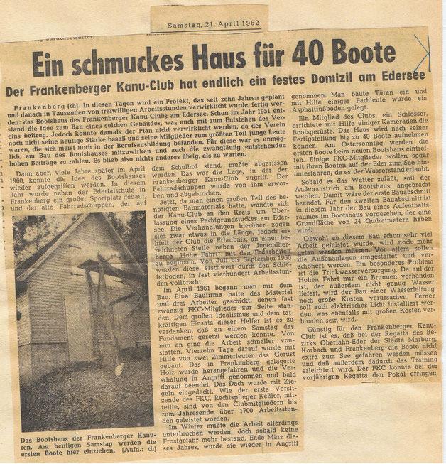 Zeitungssbericht über die Bootshauseinweihung am 21. April 1962