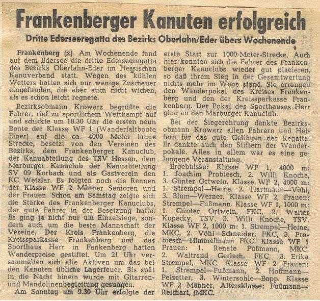 Zeitungsbericht über die 3. Edersee-Regatta am Wochende 30.06. bis 01.07.1962