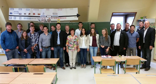 Mitglieder des neu gewählten JU Kreisausschuss mit Schulleiterin Gabriele Zillner und Bürgermeister Karl Wellenhofer und CSU Ortsvorsitzenden Axel Schieder