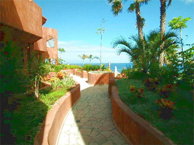 Eingang zum Ferienapartment Marea durch einen suptropischen Garten in Plam Mar