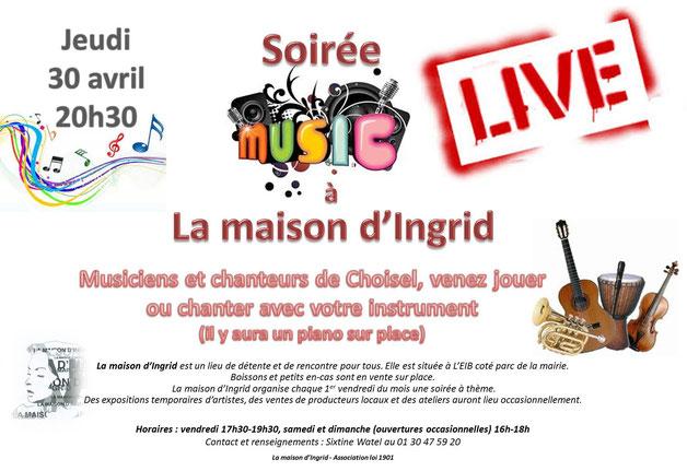 """Flyer pour la soirée """"MUSIC Live"""" à la Maison d'Ingrid de Choisel (MIC)"""