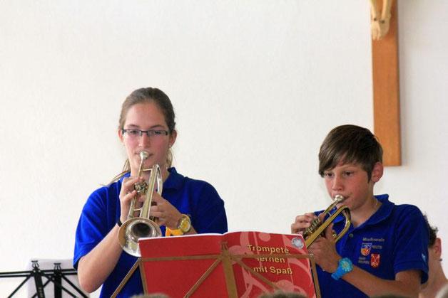 Trompetenduo Corinna Halder und Robin Schanne zeigen, was sie an ihrem Instrument gelernt haben