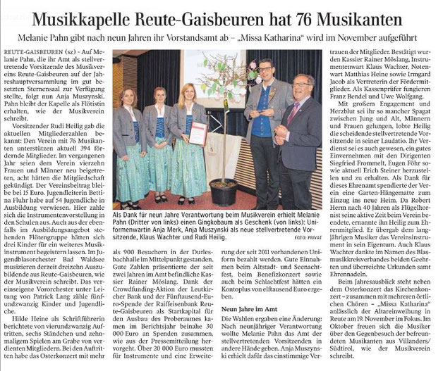 Artikel Schwäbische Zeitung vom 01.02.2017