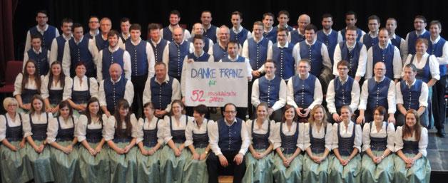 Mit diesem Bild bedankte sich der MV bei Franz Maucher, der nach 52 Jahren den Musikverein als aktives Mitglied verlässt.