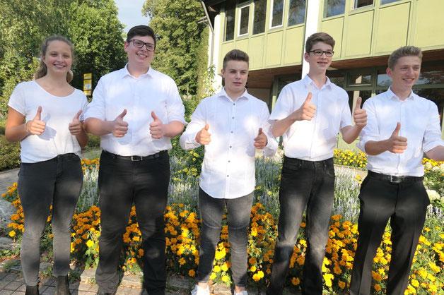 Herzlichen Glückwunsch an: Mareike Lott (D2), Jan Wolfgang (D2), Felix Engler (D3), Jan Merk (D2), Bresi Bucher (D3)