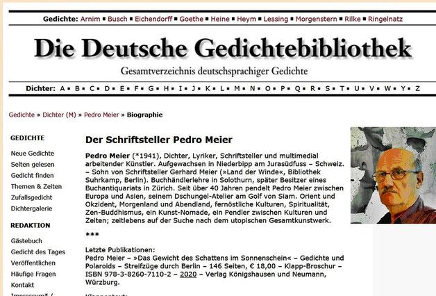 Pedro Meier – Die Deutsche Gedichte-Bibliothek. Gedichte.xbib.de. Pedro Meier, Dichter, Lyriker, Schriftsteller AdS Autor. ViceversaLiteratur.ch – Bücher: Das Gewicht des Schattens im Sonnenschein – Parallelwelten. SIKART. BSV Berner Schriftsteller Verein