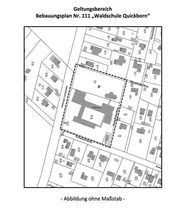 Diese Zeichnung zeigt die gegenwärtige Lage der Schulgebäude