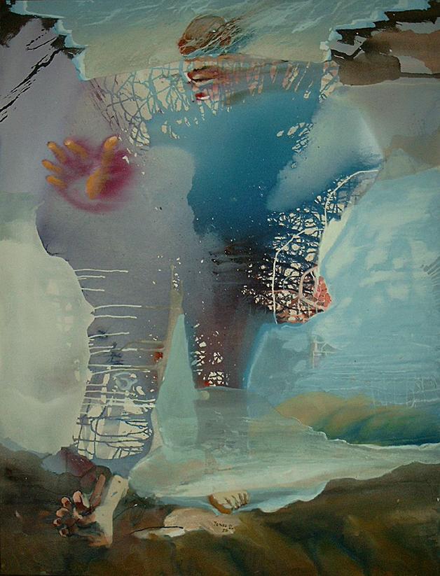 Pirschgang - Acryl auf Leinwand, 1990 (160x125)
