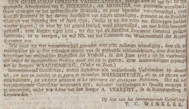 Friesche courant  gelykheid, vryheid en broederschap24-09-1796