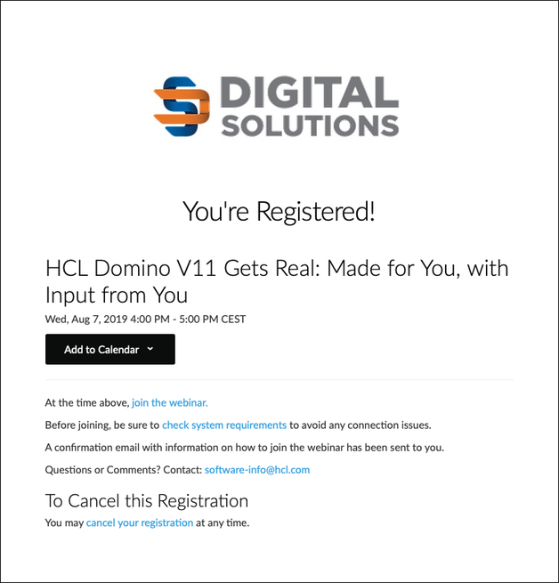 Webcast: HCL Domino V11 Gets Real - erfolgreiche Anmeldung