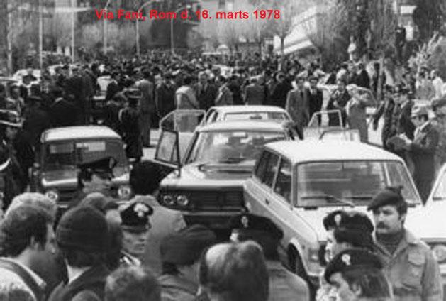 """""""Kommando Via Fani"""" bortførte den 16. marts 1978 i Rom Aldo Moro og dræbte hans 5 livvagter."""