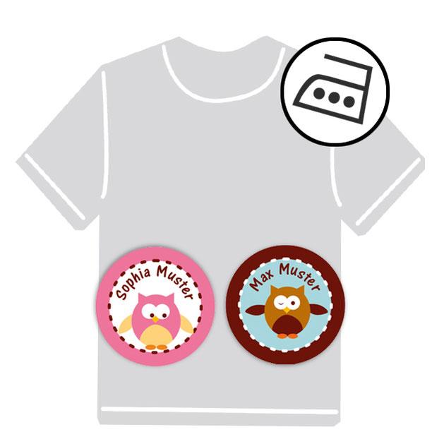 dauerhafte runde Bügeletiketten - auch personalisierbar mit Namen oder Initialen - für Kindergarten u. Schule - PVC frei -  Motiv: Eule