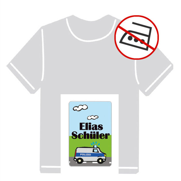 Kleidungsaufkleber für kurzfristige Markierung der Kleidung - ohne Aufbügeln - pvc-frei - Motiv: Polizei