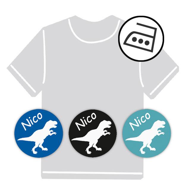 dauerhafte runde Bügeletiketten - auch personalisierbar mit Namen oder Initialen - für Kindergarten u. Schule - PVC frei -  Motiv: T-Rex
