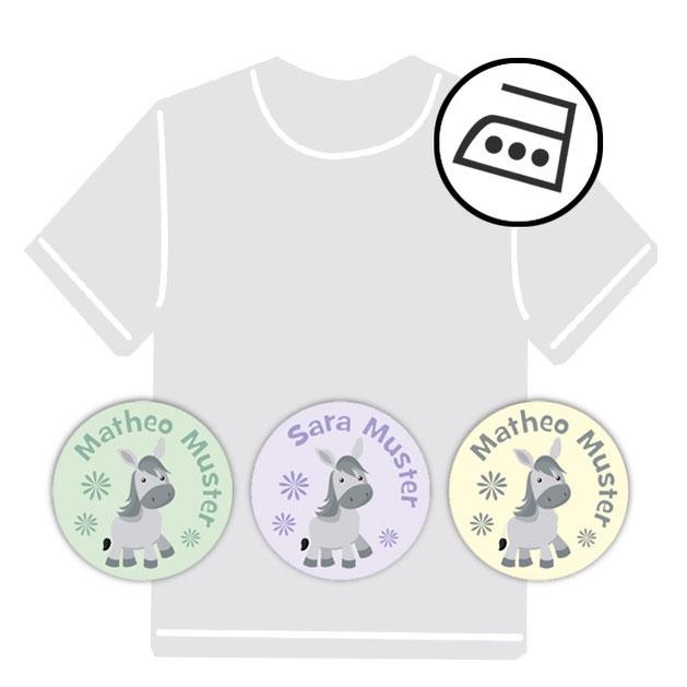 dauerhafte runde Bügeletiketten - auch personalisierbar mit Namen oder Initialen - für Kindergarten u. Schule - PVC frei -  Motiv: Esel