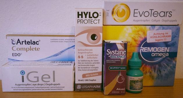 Augentropfen gegen Trockene Augen, verschiedene künstliche Tränen (Sicca Syndrom)
