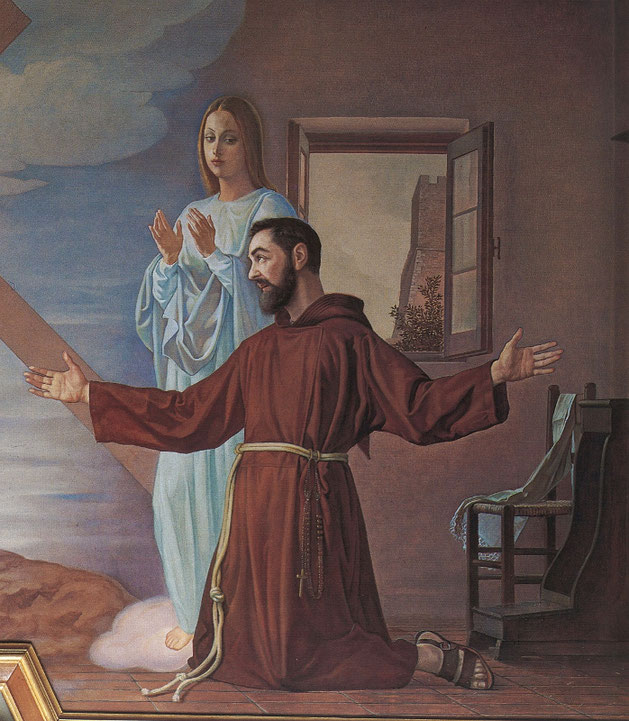 Amedeo Trivisonno, Apparizione della Madonna a Padre Pio (1972). Campobasso, chiesa di Santa Maria del Monte, particolare