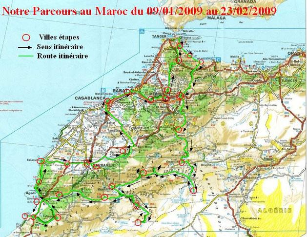 Carte du Maroc avec itinéraire fait lors de notre voyage