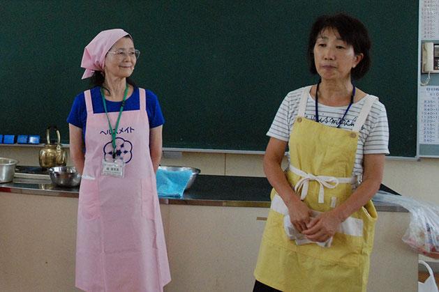 熊野中学校の小川先生と食生活改善推進員の植さん