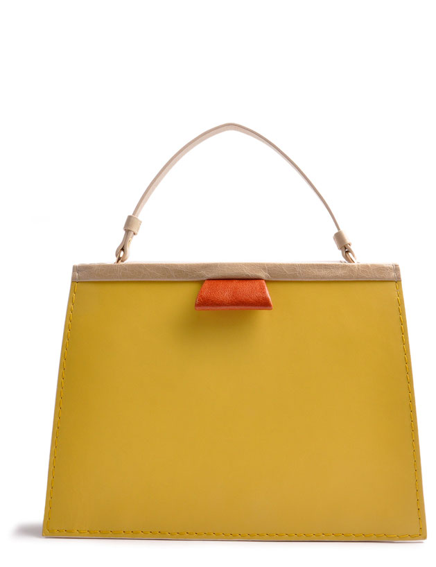 OSTWALD Bags . Finest Couture . Handcrafted Leatherbag . Tote . Turtle Edge Tote . colour yellow beige cognac