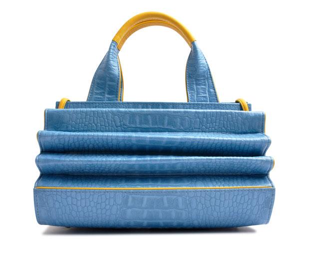 OSTWALD Bags . HARMONICA . OSTWALD Art Couture Bag.  Handbag . Handcrafted Leatherbag . blue yellow Artbag . Slow fashion. Contemporary Clutch . Purse