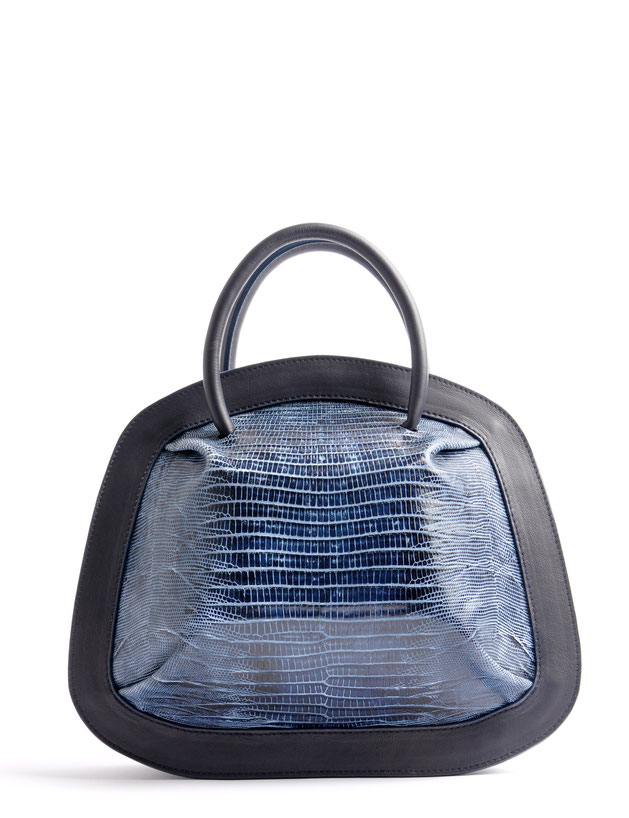 OSTWALD Bags . Finest Couture . Handcrafted Leatherbag . Organic Tote SMALL . Bubble . colour navy blue
