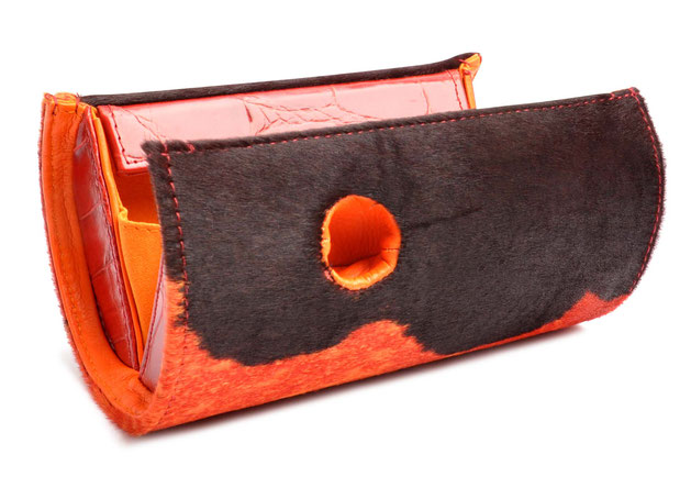 OSTWALD Bags . Art Couture Clutch Barrel .  Handbag . Handcrafted Leatherbag . multicolor orange and brown . Slow fashion