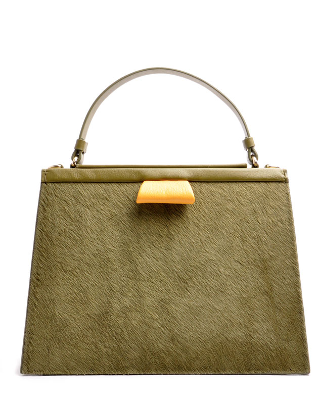 OSTWALD Bags . Finest Couture . Handcrafted Leatherbag . Tote . Turtle Edge Tote . colour oliv . green . yellow