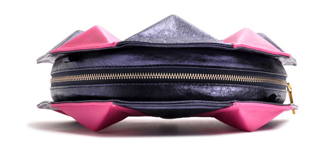 OSTWALD Bags . Art Couture Clutch Diamond.  Handbag . Handcrafted Leatherbag . multicolor . blue and pink leather clutch . Slow fashio . Pursen