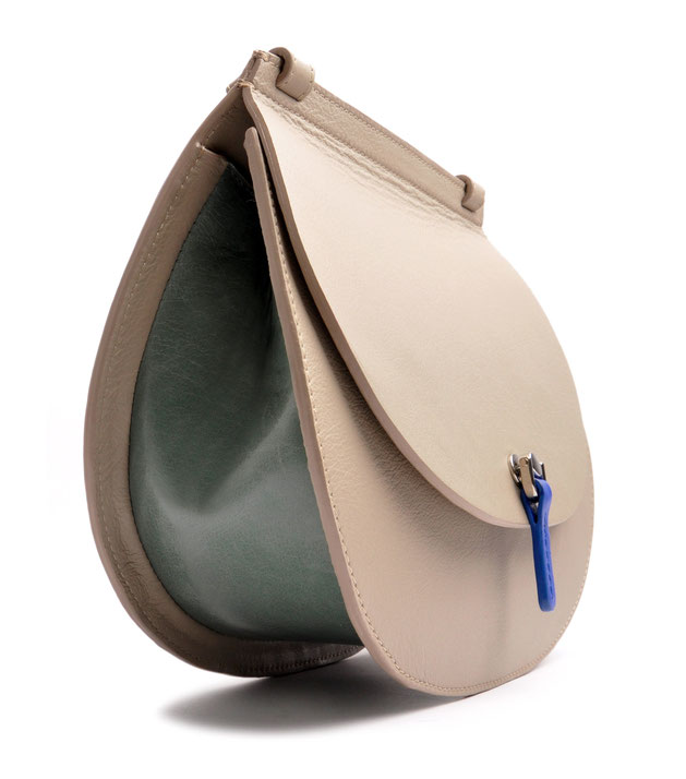 OSTWALD Bags . Finest Couture . Handcrafted Leatherbag . Saddle Shoulderbag . Leatherbag in grey . blue . green . Shoulderbag multicolor . Slowfashion