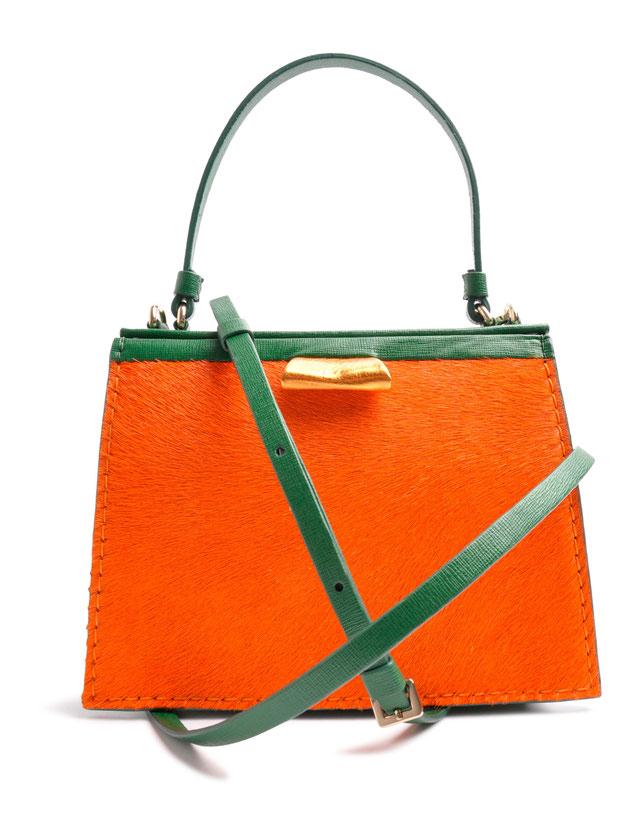 OSTWALD Bags . TURTLE EDGE TOTE . Tote Bag Small  . Leather bag in multicolor . orange green leather bag . fur bag .  Shop online . Statement Bag.  Webshop