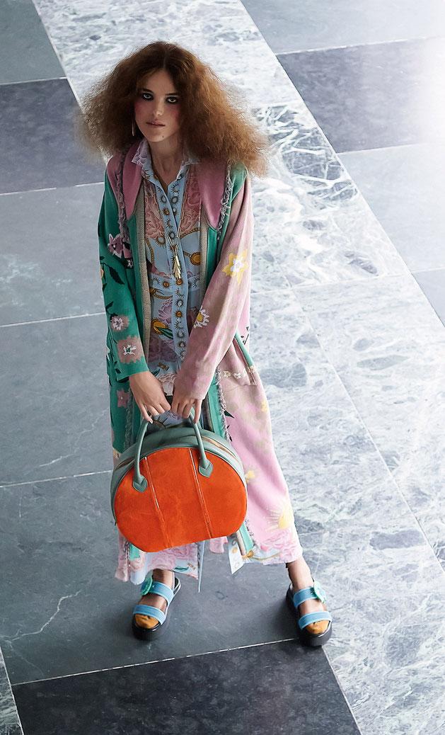 OSTWALD Bags .CIRCLE Soft . Tote large . Leather bag in multicolor . salvia green and orange leather bag . fur bag .  Shop online . Statement Bag.  Everyday Bag . Webshop